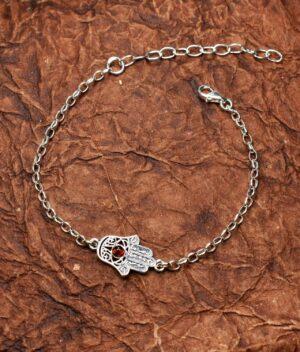 bransoletka srebrna próba 925 bursztyn koniak łańcuszkowa Fatima