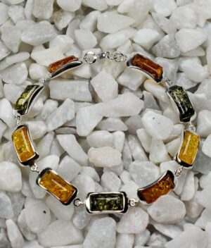 bransoletka srebrna próba 925 bursztyn mix kolorów Clara