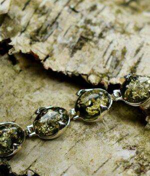 bransoletka srebrna próba 925 bursztyn zielony Katie