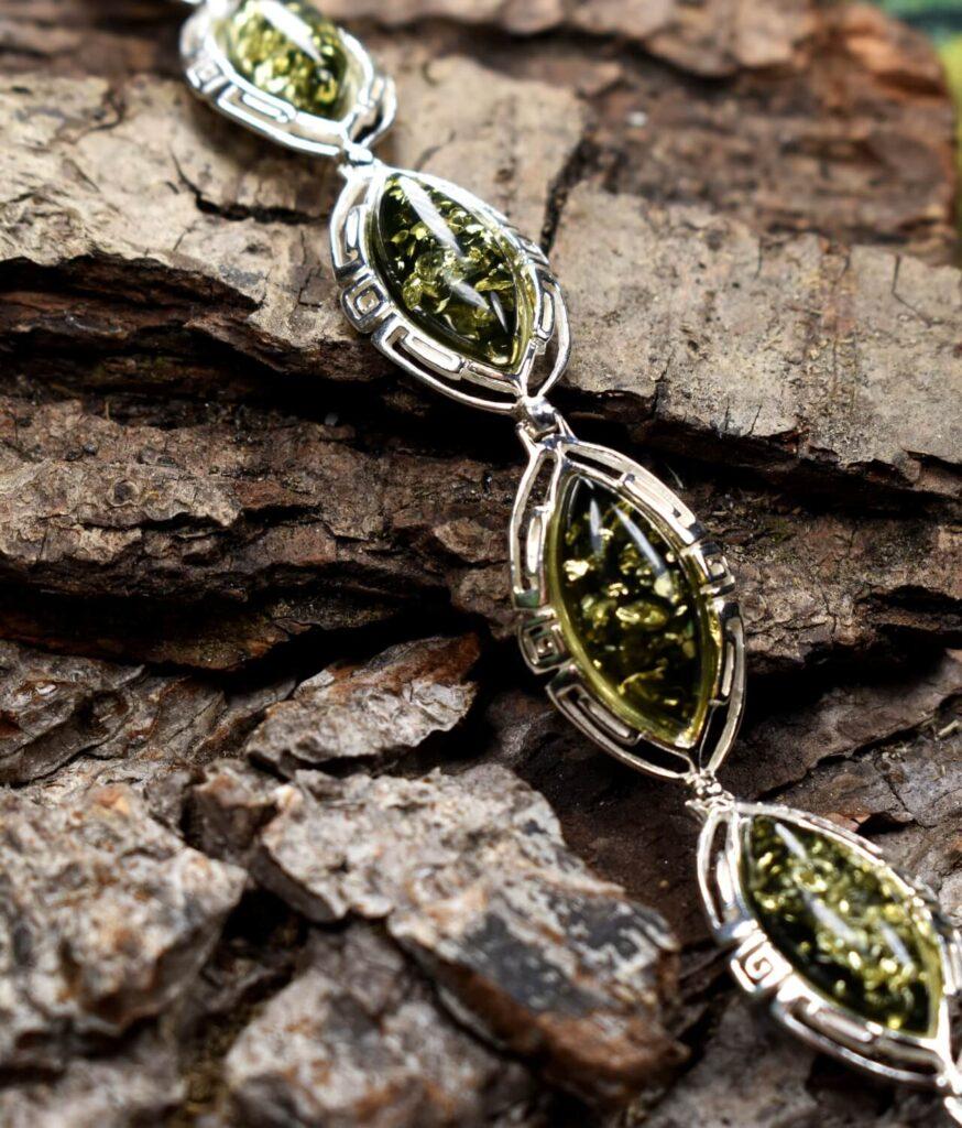 bransoletka srebro próba 925 bursztyn zielony wzór grecki Amelia
