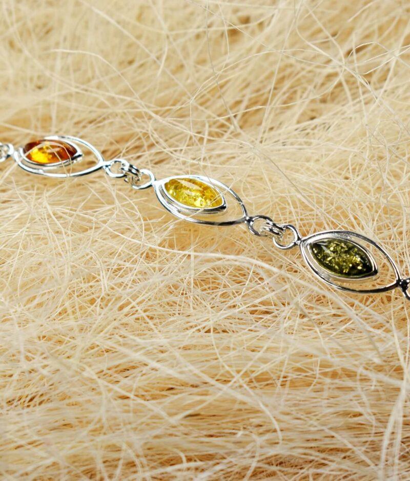 bransoletka srebro próba 925 bursztyn mix kolorów Vera