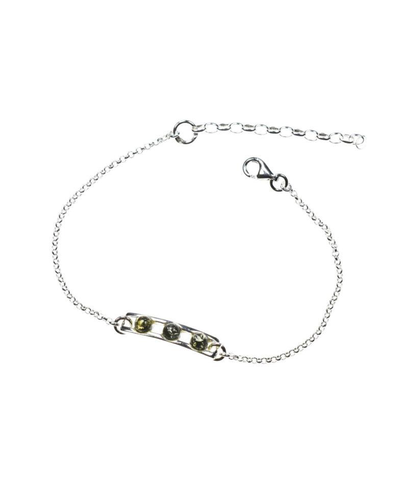 bransoletka srebro próba 925 bursztyn zielony na łańcuszku Amy zielonym