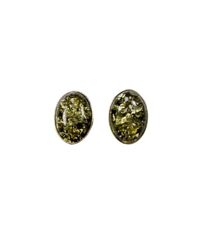 kolczyki srebro próba 925 bursztyn zielony zapięcie sztyft średni Ada
