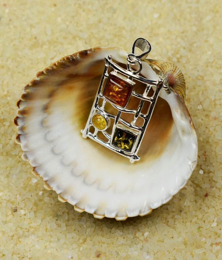 wisiorek mały srebrny próba 925 bursztyn mix kolorów Mary