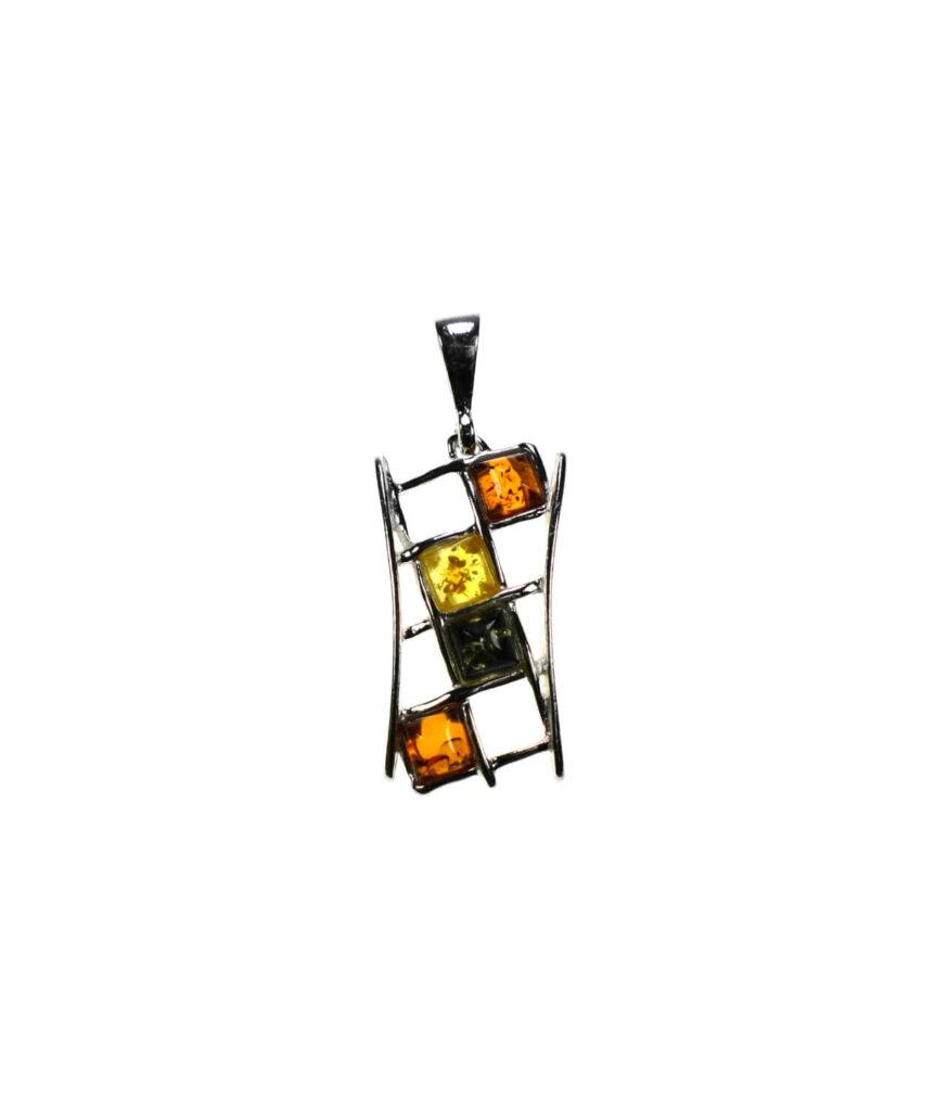 wisiorek mały srebrny próba 925 bursztyn mix kolorów Monica