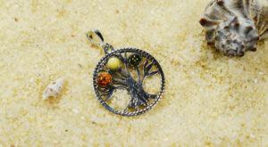 wisiorek srebrny drzewko z bursztynem kolorowy