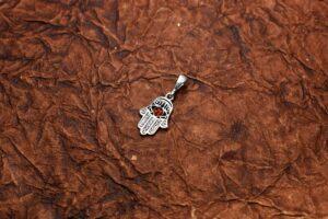 wisiorek srebrny próba 925 bursztyn koniak Fatima