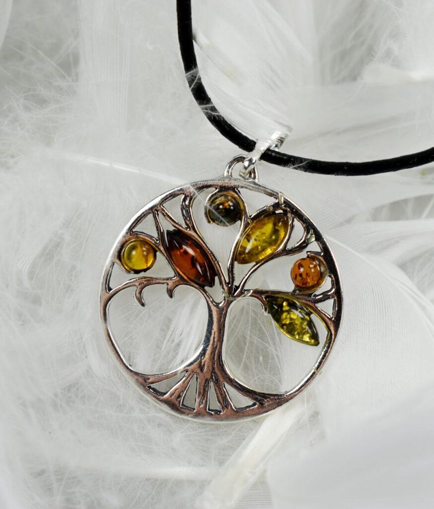 wisiorek srebrny próba 925 bursztyn mix kolorów z rzemykiem markiza drzewko