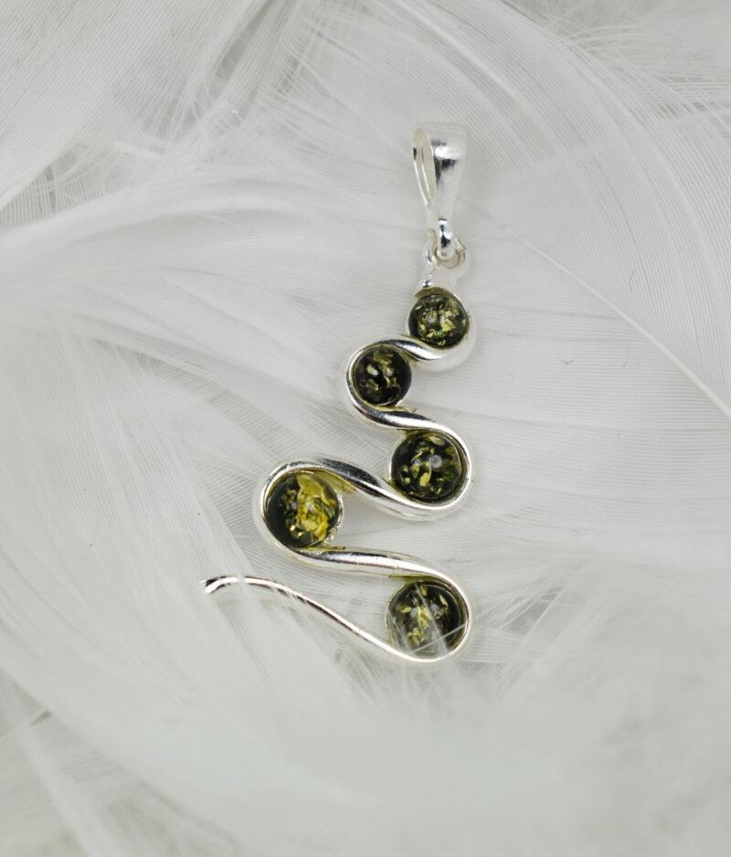 wisiorek srebrny próba 925 bursztyn zielony Eve