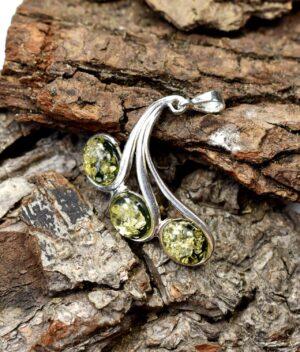 wisiorek srebrny próba 925 bursztyn zielony Isabel