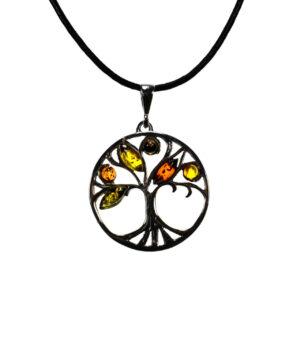 wisiorek srebro próba 925 bursztyn mix kolorów na rzemyku drzewko łezka markiza