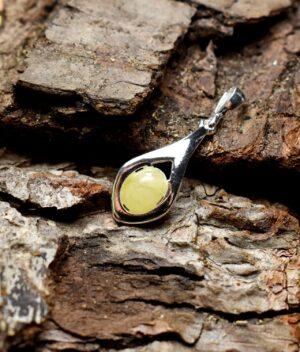 wisiorek srebro próba 925 bursztyn mleczny Lena