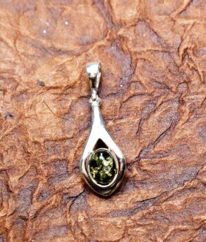 wisiorek srebro próba 925 bursztyn zielony Lena
