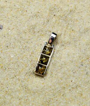 wisiorek srebro próba 925 bursztyn zielony mały Lucy