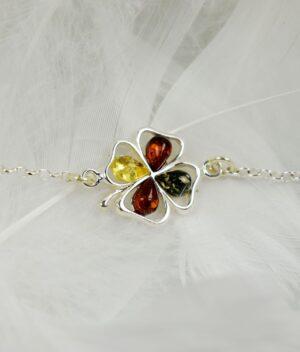 bransoletka srebro próba 925 bursztyn mix kolorów na łańcuszku koniczynka