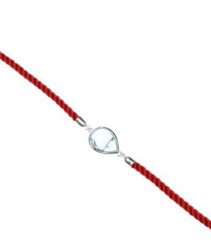 bransoletka srebro próba 925 howlit łezka sznurkowa czerwona