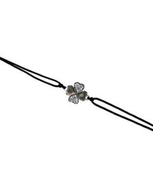 bransoletka srebro próba 925 koniczynka sznurkowa czarna
