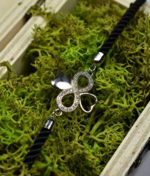 bransoletka srebro próba 925 koniczynka z serduszkami cyrkonią sznurkowa czarna