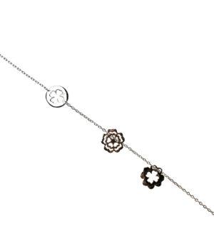 bransoletka srebro próba 925 koniczynki gładkie kwiatuszek ażurowy na łańcuszku