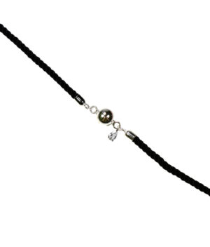 bransoletka srebro próba 925 kulką i wiszącą łezką cyrkonią sznurkowa czarna