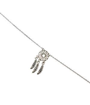 bransoletka srebro próba 925 łapacz snów gładki na łańcuszku