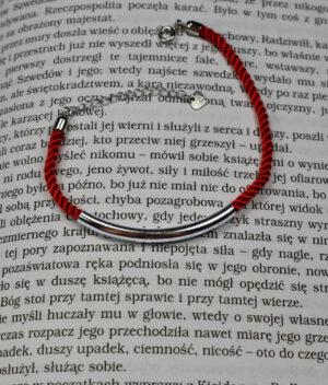 bransoletka srebro próba 925 rurką gładka sznurkowa czerwona