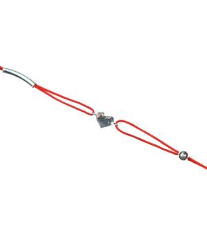bransoletka srebro próba 925 serduszko kulka,rurka sznurkowa czerwona