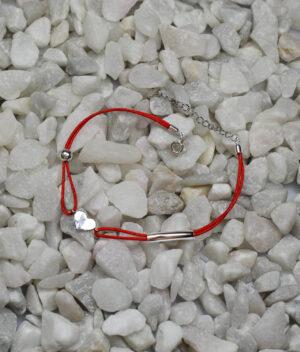 bransoletka srebro próba 925 serduszko kulka rurka sznurkowa czerwona