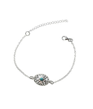 bransoletka srebro próba 925 turkus na łańcuszku owalna ornament