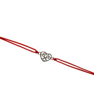 bransoletka srebro próba 925 z ażurowym serduszkiem sznurkowa czerwona