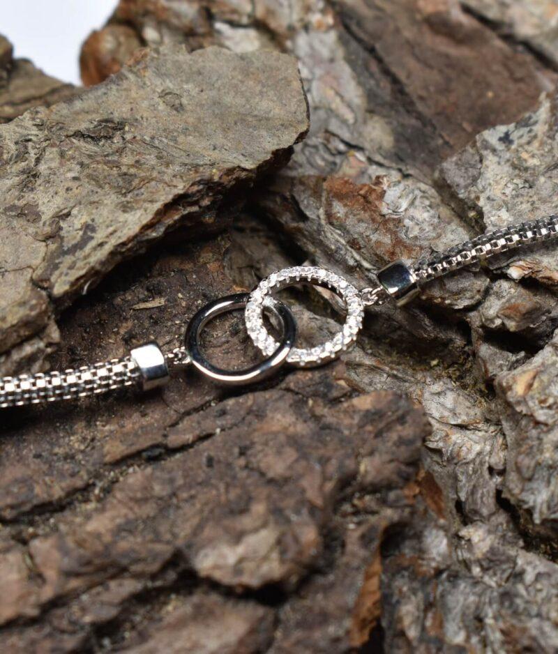 bransoletka srebro próba 925 z dwoma kółeczkami połączonymi na łańcuszku