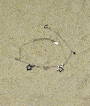 bransoletka srebro próba 925 z gwiazdkami kuleczkami gładka na łańcuszku
