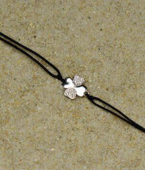 bransoletka srebro próba 925 z koniczynką z cyrkoniami sznurkowa czarna