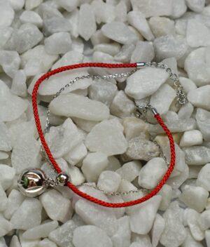 bransoletka srebro próba 925 z kulką gładką i ażurową sznurkowa czerwona łańcuszek
