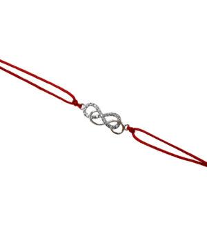bransoletka srebro próba 925 z podwójną nieskończonością sznurkowa czerwona