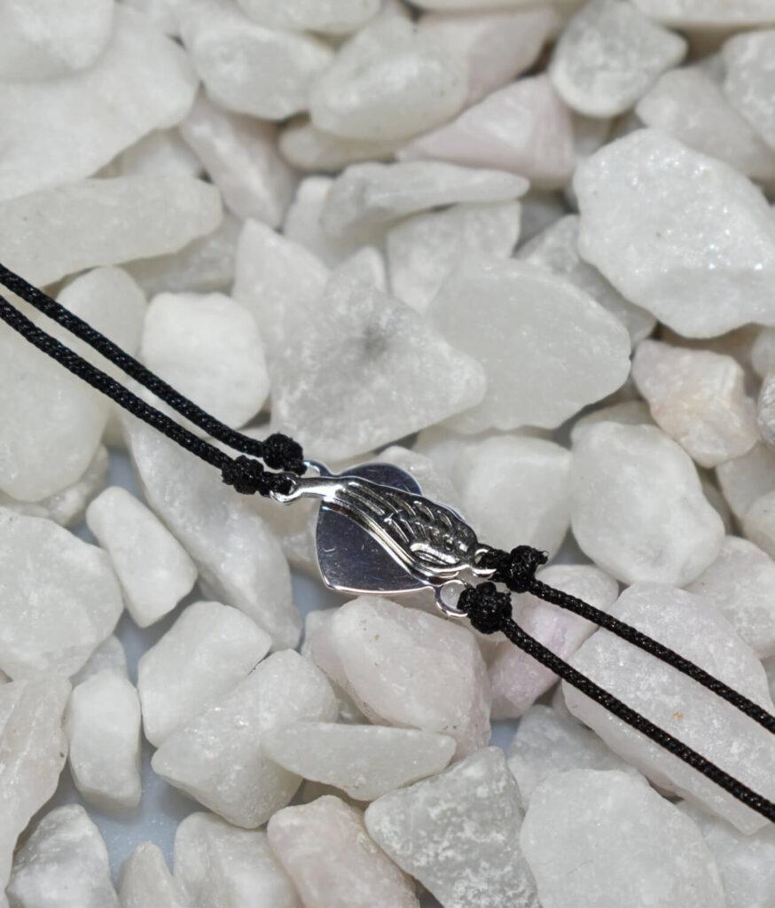 bransoletka srebro próba 925 z serduszkiem i skrzydełkiem gładkie ażur sznurkowa czarna
