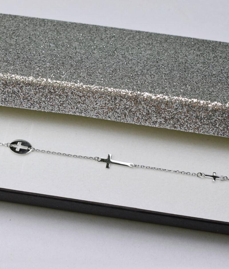 bransoletka srebro próba 925 z trzema krzyżykami gładka na łańcuszku