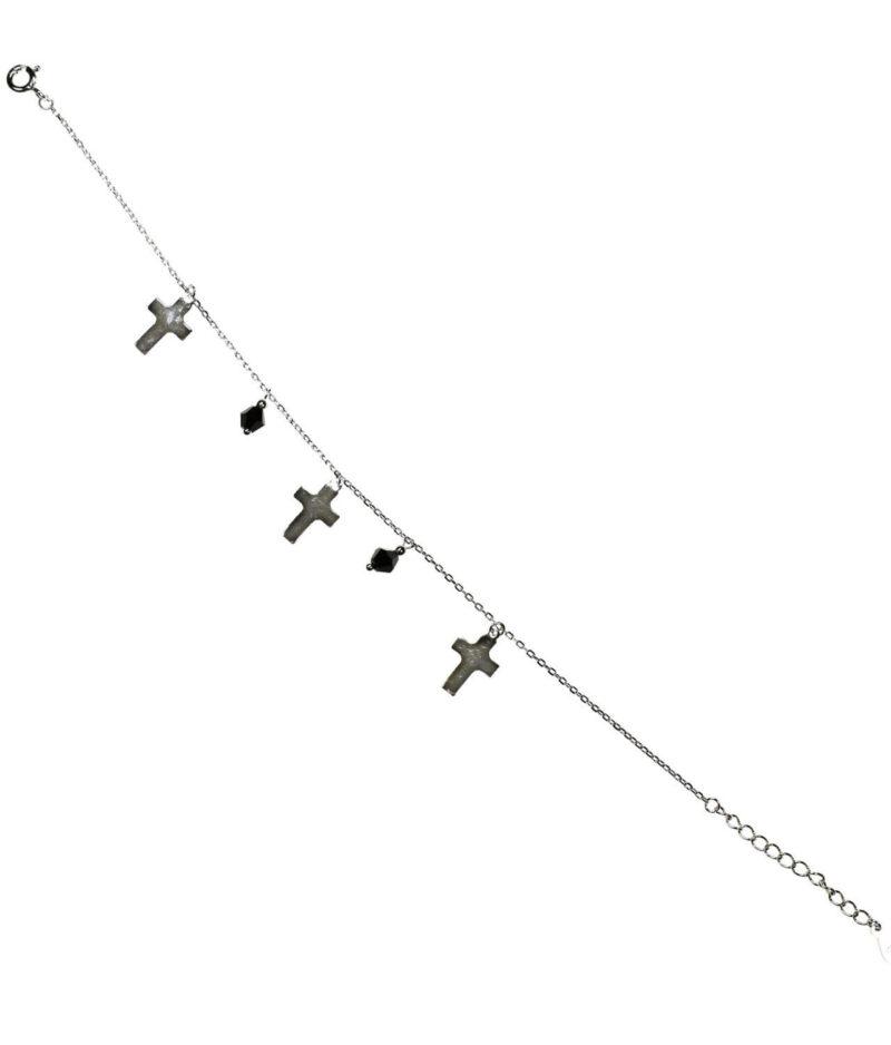 bransoletka srebro próba 925 z wiszącymi krzyżykami gładkimi koralikami na łańcuszku