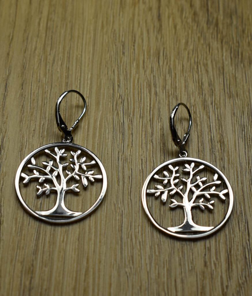kolczyki srebrne próba 925 drzewko szczęścia wiszące zapięcie angielskie