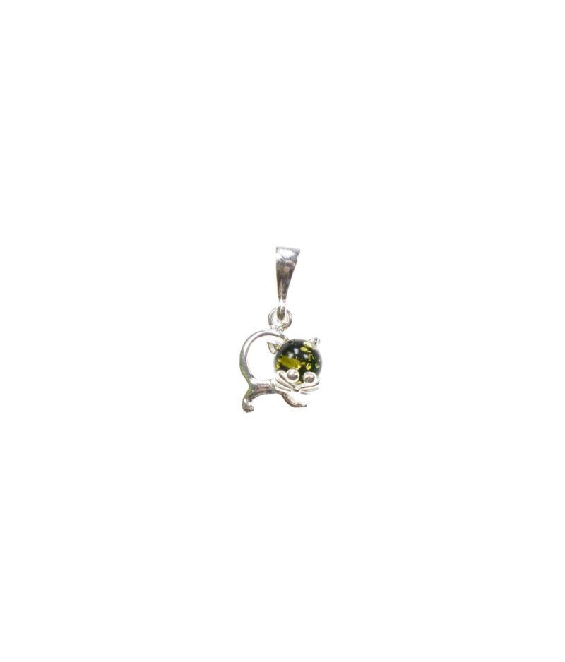 wisiorek mały srebro próba 925 bursztyn zielony zielonym kotek