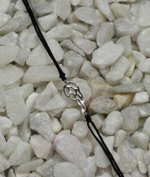bransoletka srebrna próba 925 z ażurowym skrzydełkiem sznurkowa czarna