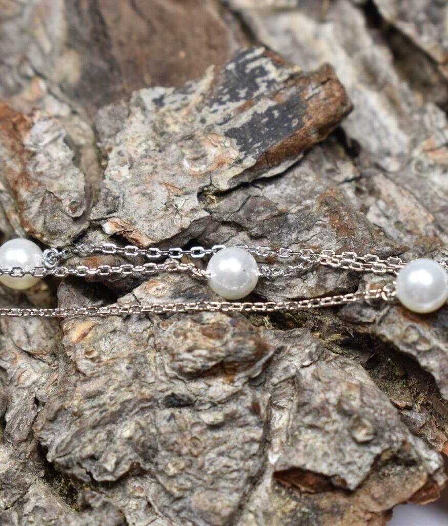 bransoletka srebro próba 925 z perełkami na łańcuszku