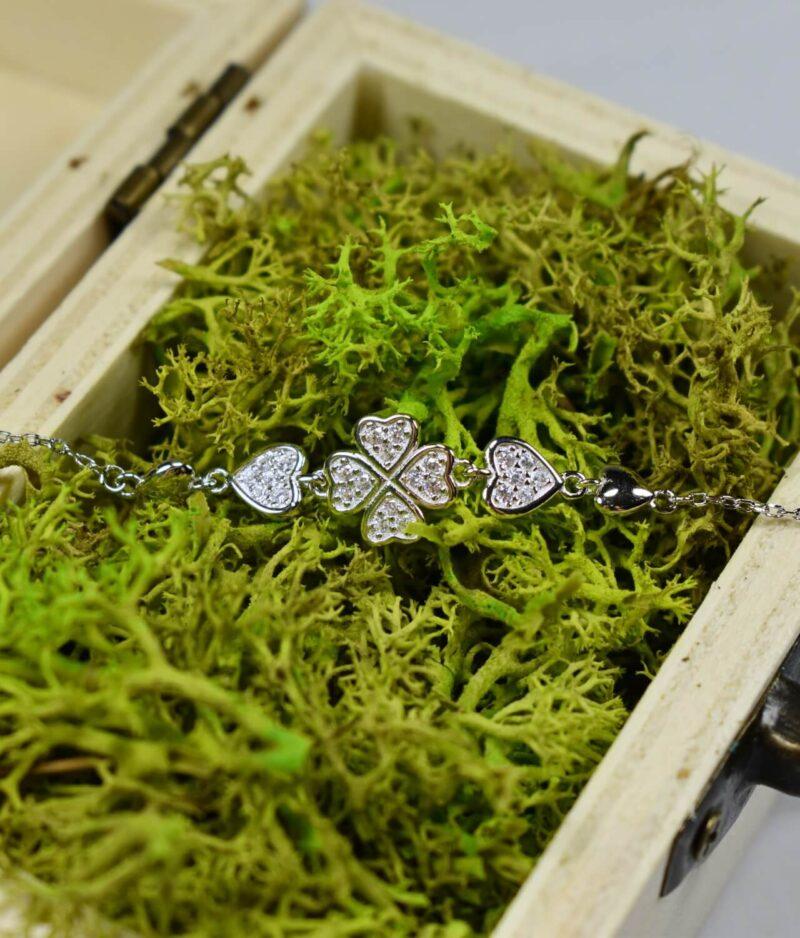 bransoletka srebro próba 925 koniczynka serduszka cyrkonie gładka na łańcuszku