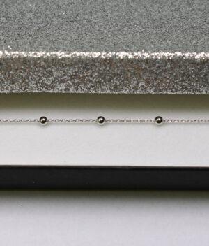 bransoletka srebro próba 925 kuleczkami gładkie na łańcuszku