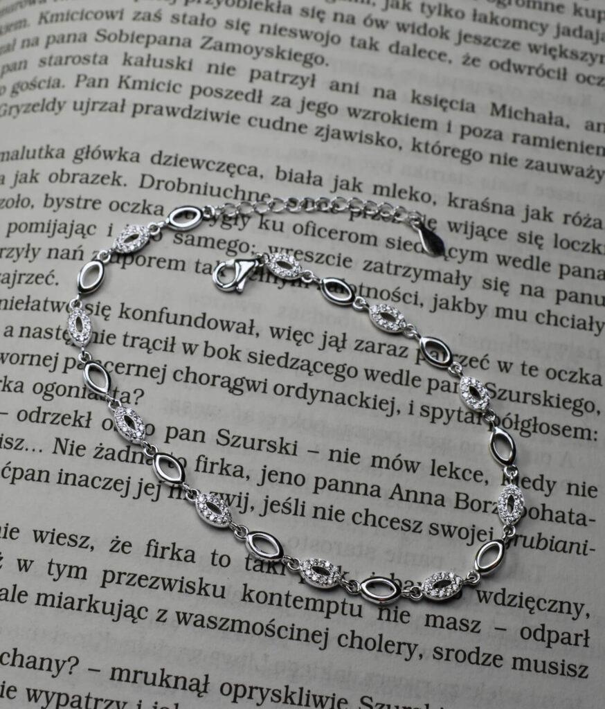 bransoletka srebro próba 925 markizy gładkie i cyrkoniami wieloelementowa