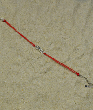 bransoletka srebro próba 925 nieskończoność gładka sznurkowa czerwona