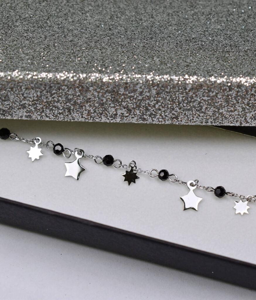 bransoletka srebro próba 925 z koralikami gwiazdkami gładkie na łańcuszku