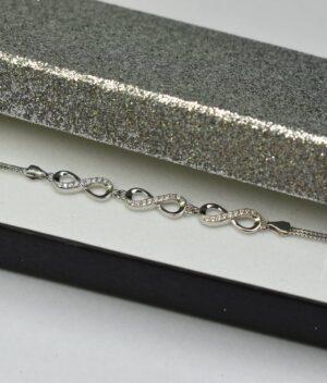 bransoletka srebro próba 925 z nieskończonością z cyrkoniami potrójna łańcuszek kostka