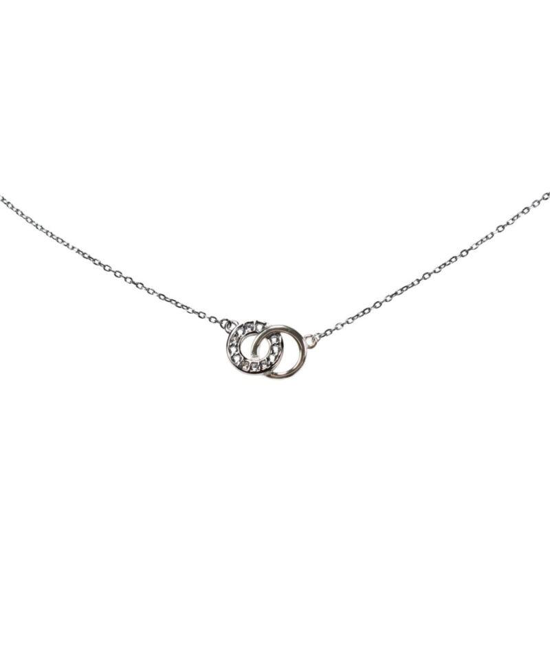 naszyjnik srebrny próba 925 z połączonymi kółeczkami gładkie i z cyrkonią