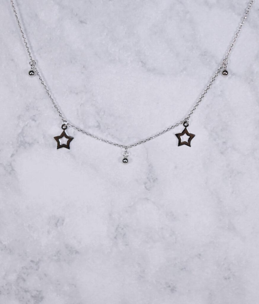 naszyjnik srebrny próba 925 z gwiazdkami wiszące i kuleczkami gładkie